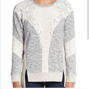 Rebecca Taylor mixed media sweatshirt small gray